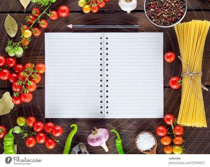 Farbe rot Essen gelb braun oben Linie offen frisch groß Papier Kräuter & Gewürze Gemüse Tradition lang Essen zubereiten