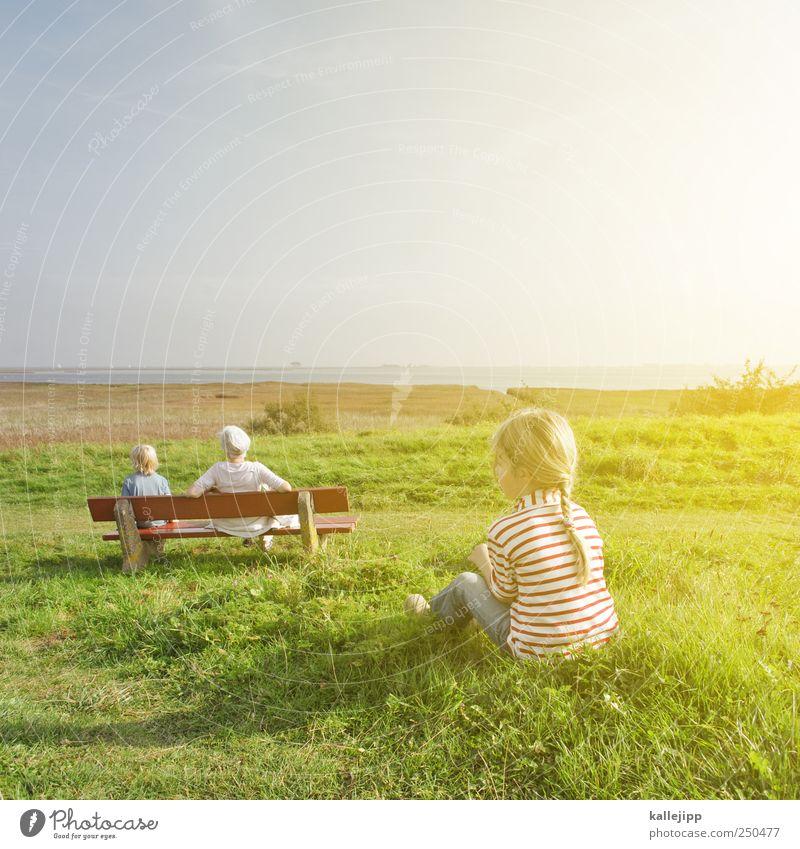 ein langer weg Frau Mensch Kind Natur Pflanze Mädchen Sommer Erwachsene Erholung Leben Umwelt Landschaft Junge Küste Kindheit Familie & Verwandtschaft
