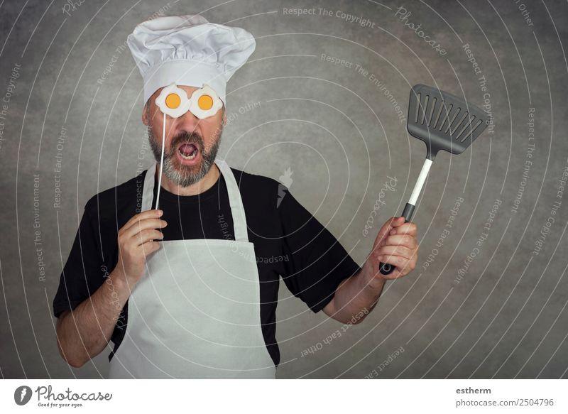 Mensch Jugendliche Mann Junger Mann Erwachsene Lifestyle lustig Business maskulin Ernährung Fröhlichkeit Erfolg Küche festhalten lecker Gastronomie