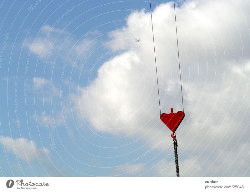 Wasserflugzeug Wolken Kran heben Himmel blau Kette Seil