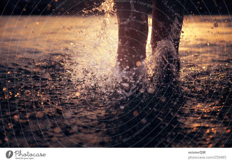 feeling summer. Natur ästhetisch rein berühren Wasser Wasserspritzer Sommer Freibad laufen rennen Freude Partikel tauchen Leben Wasseroberfläche Meer Meerwasser