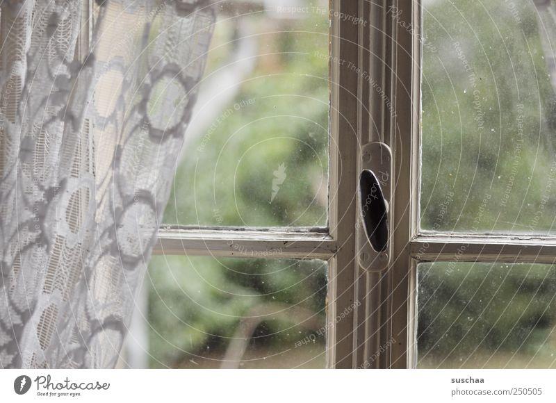 rückblick Fenster Holz Glas alt hässlich Stimmung bescheiden Verfall Vergangenheit Vergänglichkeit Wandel & Veränderung Gardine Fensterrahmen Glasscheibe
