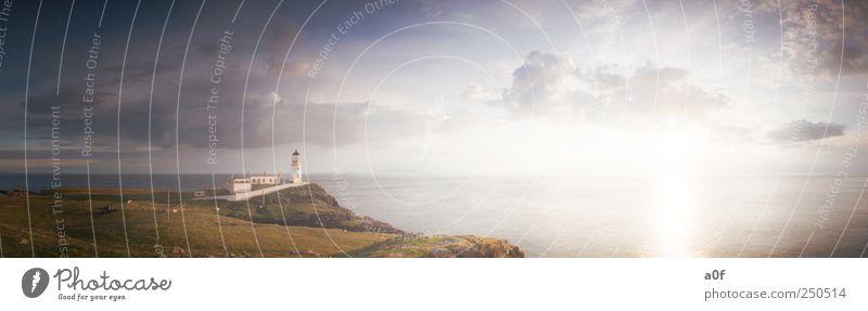 neist point Natur Landschaft Himmel Sonnenaufgang Sonnenuntergang Sonnenlicht Wind Küste Schottland Europa Leuchtturm Sehenswürdigkeit Schifffahrt