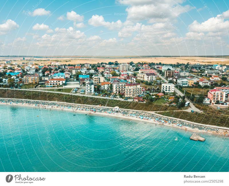 Luftaufnahme des Costinesti Beach Resort in Rumänien am Schwarzen Meer Strand Fluggerät Aussicht Sand Hintergrundbild Wasser oben Ferien & Urlaub & Reisen blau
