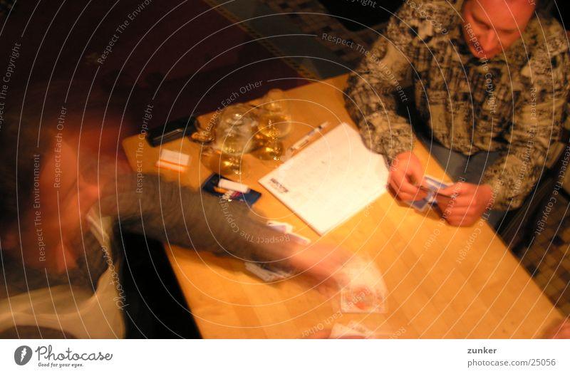 achtzehn Skat Spielen Bier Zigarette Blatt Postkarte Bewegung Freude
