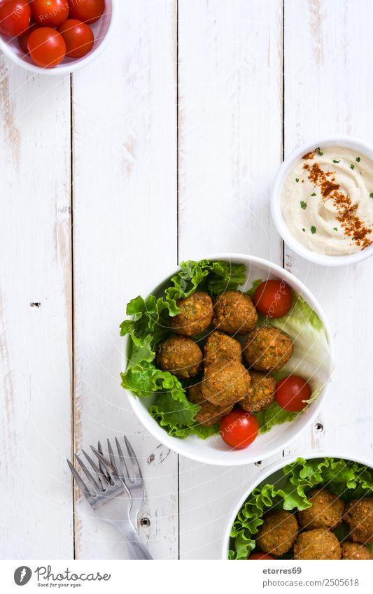 Falafel Lebensmittel Gemüse Getreide Asiatische Küche Schalen & Schüsseln frisch Gesundheit braun Kichererbsen Tomate Kopfsalat Hummus Vegetarische Ernährung