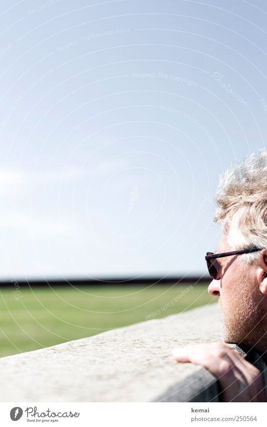 Über die Mauer gucken Mensch Himmel Mann Leben Wiese Wand Landschaft Kopf Haare & Frisuren Erwachsene Finger maskulin festhalten 45-60 Jahre Schönes Wetter