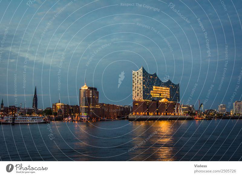 Hamburg meine Perle.... Hafen Elbphilharmonie Licht Kehrwiederspitze Hafenstadt Brücke Bauwerk Gebäude Sehenswürdigkeit Wahrzeichen Denkmal glänzend Beleuchtung