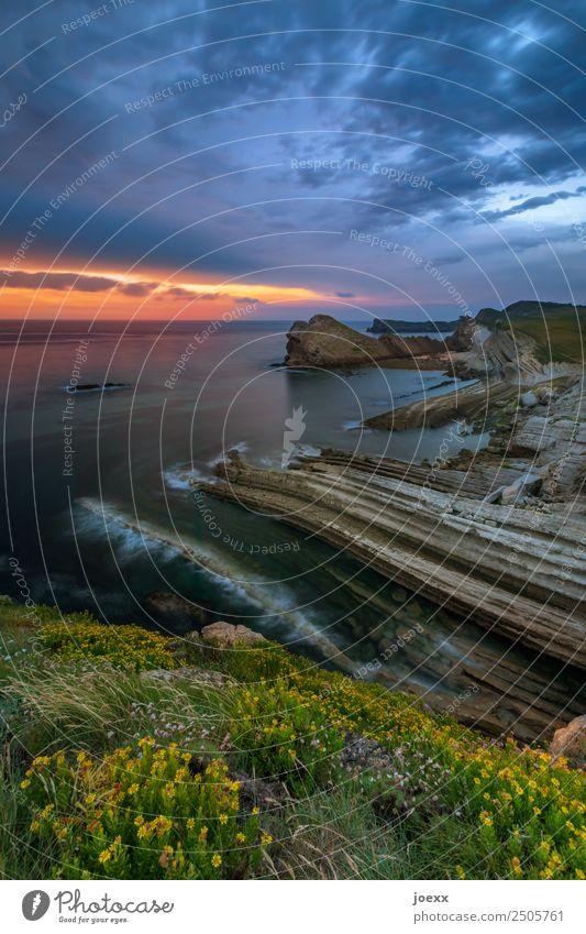 Felsige Steilküste mit Sonnenuntergang am Horizont steilhang Küste Abenddämmerung Starke Tiefenschärfe Natur Weitwinkel braun blau Farbfoto Wasser Tag