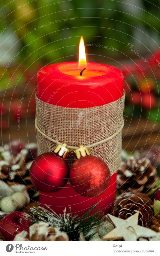 Kerzendekoration Leben Winter Schnee Dekoration & Verzierung Feste & Feiern Weihnachten & Advent Holz Ornament glänzend dunkel hell neu gelb gold rot weiß Farbe