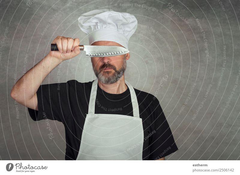 Mann hält Messer Fleisch Ernährung Abendessen Diät Lifestyle Küche Restaurant Gastronomie Business Mensch maskulin Junger Mann Jugendliche Erwachsene 1