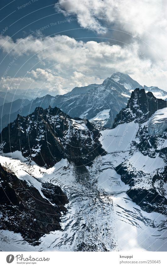 Eiszeit Ausflug Umwelt Natur Landschaft Luft Himmel Winter Klima Klimawandel Schönes Wetter Nebel Felsen Alpen Berge u. Gebirge Gipfel Schneebedeckte Gipfel