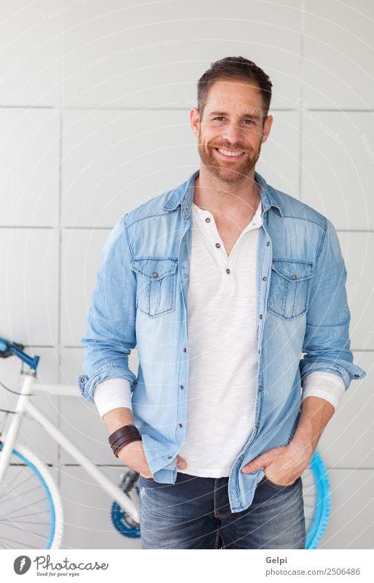 Lässiger Typ Lifestyle Stil Glück Mensch Mann Erwachsene Straße Mode Hemd Vollbart Denken Coolness modern retro blau selbstbewußt Fahrrad Hipster urban jung
