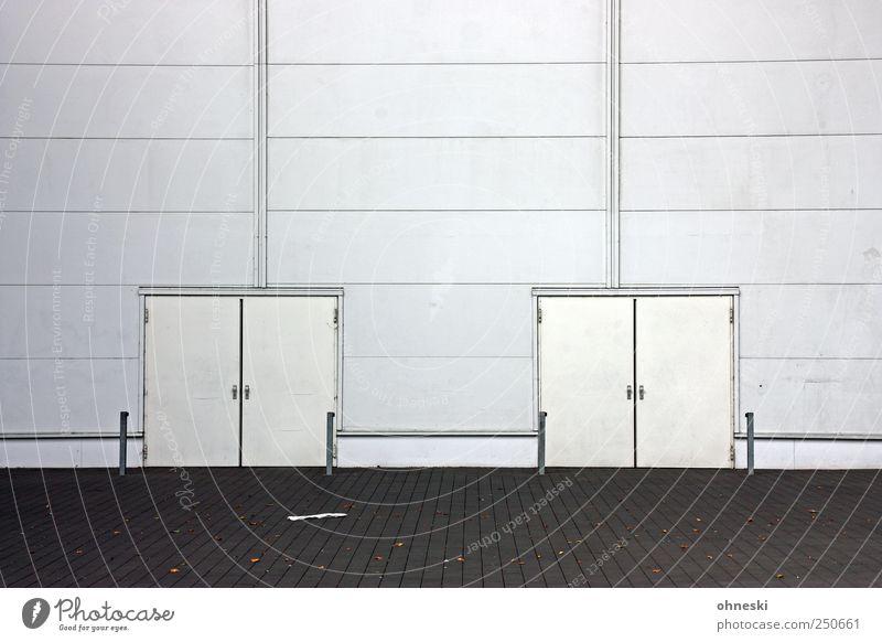 *100* Jubiläumsfassade weiß Architektur Gebäude Linie Tür Fassade Bauwerk Halle Messehalle