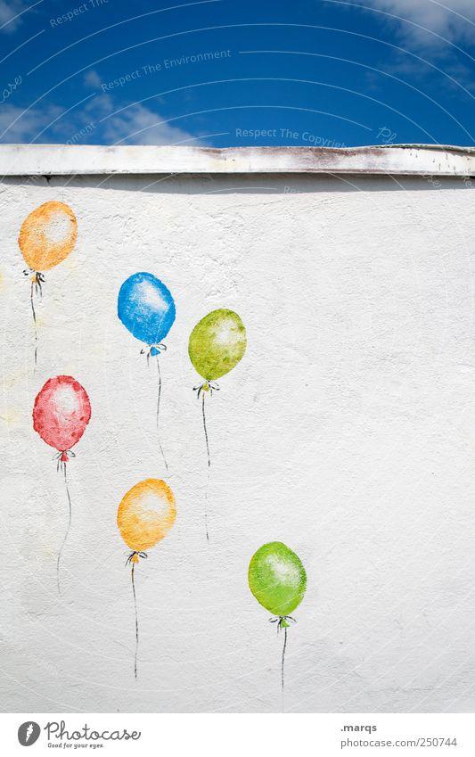 Flyer Feste & Feiern Mauer Wand Luftballon Zeichen fliegen frei schön blau mehrfarbig gelb grün rot weiß Freiheit Freude Hoffnung Glück aufsteigen Jubiläum