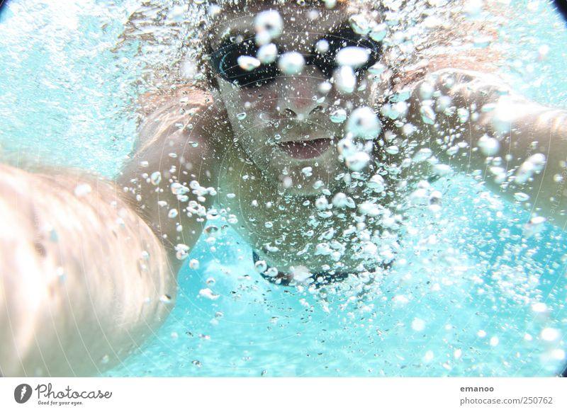 tauch(t)er Mensch Mann Jugendliche Wasser blau Freude Sommer Ferien & Urlaub & Reisen Meer Gesicht Sport Freiheit Erwachsene Luft Freizeit & Hobby