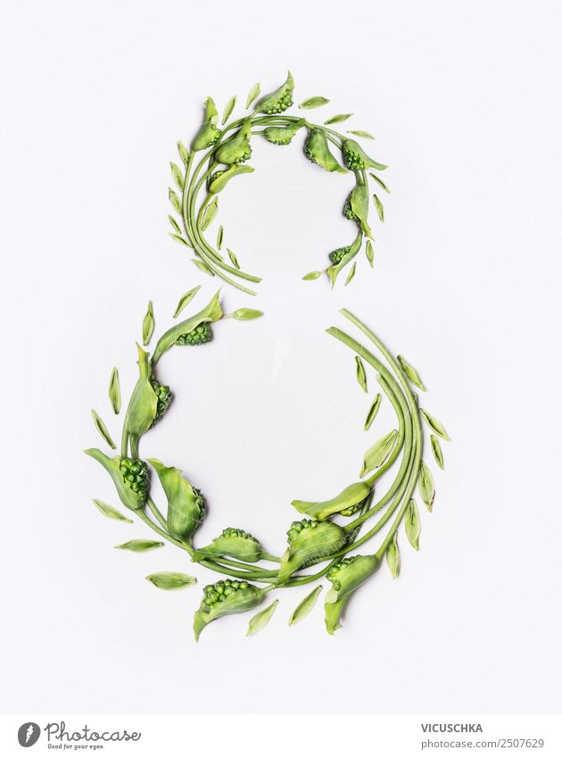 8 mit grünen Blumen und Blättern Stil Design Feste & Feiern Natur Pflanze Blatt Blüte Dekoration & Verzierung Blumenstrauß Schriftzeichen Ornament number