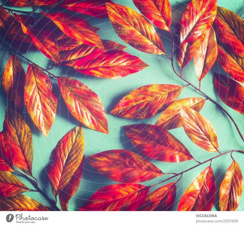 Leuchtend orange rot Herbstlaub Pattern Stil Design Erntedankfest Natur Pflanze Blatt Garten Park Ornament trendy gelb Hintergrundbild Entwurf türkis pattern