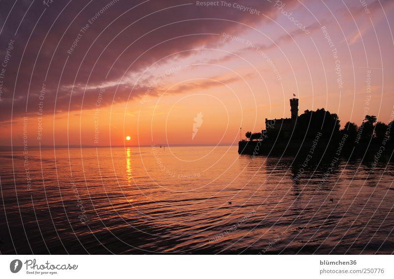 Kitsch Ferien & Urlaub & Reisen Tourismus Ausflug Landschaft Wasser Himmel Wolken Sonne Sonnenaufgang Sonnenuntergang Bodensee Langenargen Hafenstadt