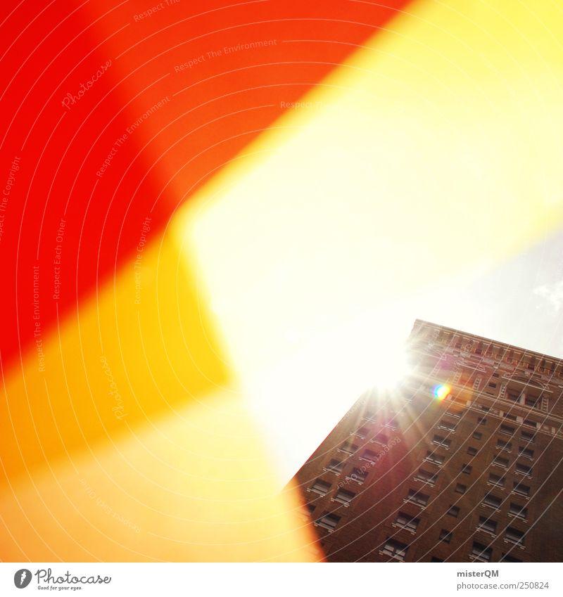 Der Sonne entgegen. Himmel rot Farbe gelb Beleuchtung Hochhaus Perspektive Hoffnung Macht USA Kreativität Skyline Aussicht Etage Block Hauptstadt