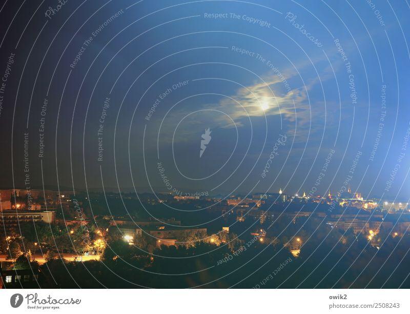 Notfall Himmel Wolken Vollmond Bautzen Lausitz Deutschland Stadt Stadtzentrum Skyline bevölkert Haus Kirche Dom Gebäude Straßenbeleuchtung leuchten dunkel Ferne
