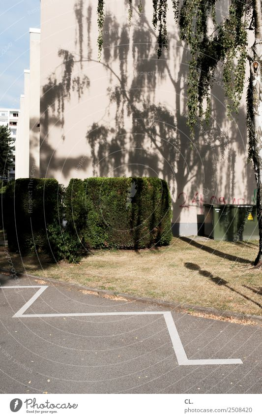 hochspannung Sommer Schönes Wetter Wärme Baum Gras Sträucher Stadt Menschenleer Haus Gebäude Architektur Mauer Wand Verkehrswege Straße Wege & Pfade