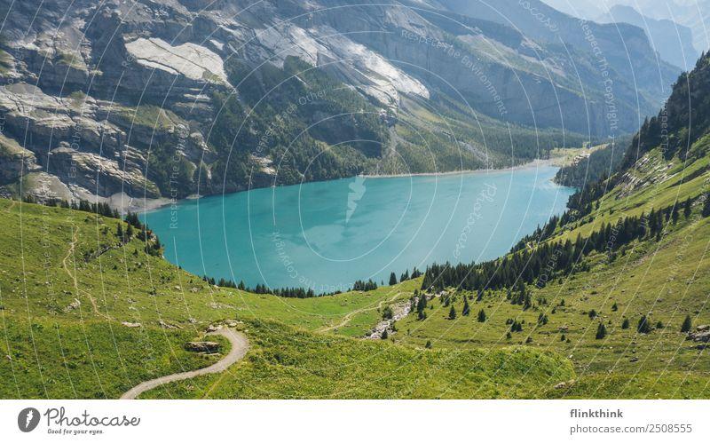 Öschinensee oberhalb von Kandersteg in der Schweiz Kur Schwimmen & Baden Freizeit & Hobby Ferien & Urlaub & Reisen Tourismus Ausflug Abenteuer Freiheit Sommer