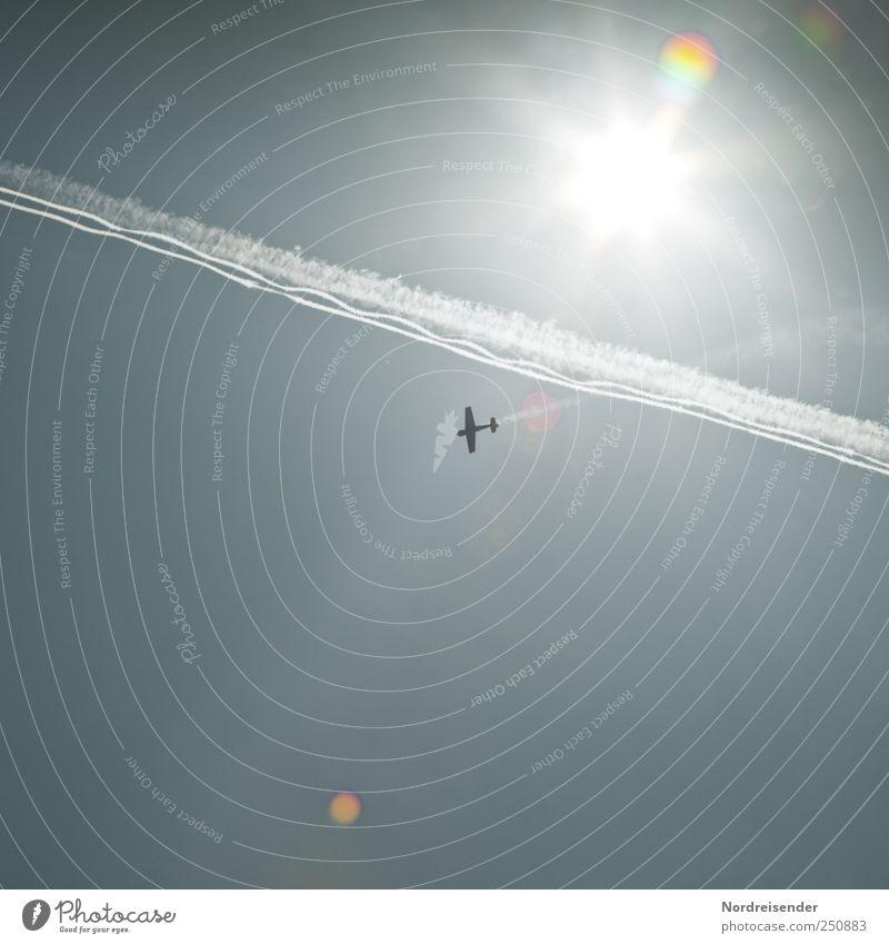 Überflieger Lifestyle Güterverkehr & Logistik Luftverkehr Himmel Wolkenloser Himmel Sonne Sonnenlicht Schönes Wetter Flugzeug Propellerflugzeug Sportflugzeug
