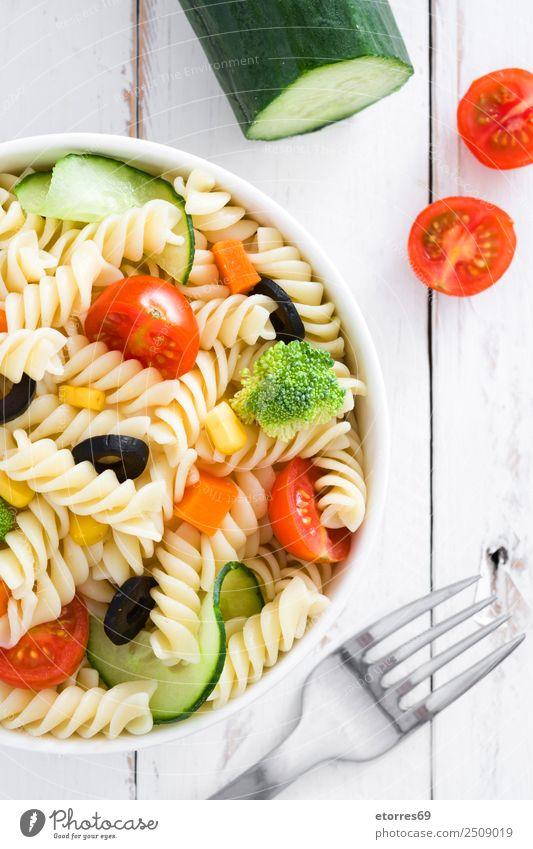 Nudelsalat Lebensmittel Gemüse Salat Salatbeilage Teigwaren Backwaren Ernährung Vegetarische Ernährung Schalen & Schüsseln Sommer frisch Gesundheit gut grün rot