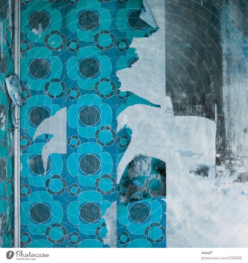 mono Renovieren Umzug (Wohnungswechsel) Tapete Mauer Wand Stein Beton Ornament Linie Streifen Aggression alt authentisch dunkel einfach rebellisch blau Ordnung