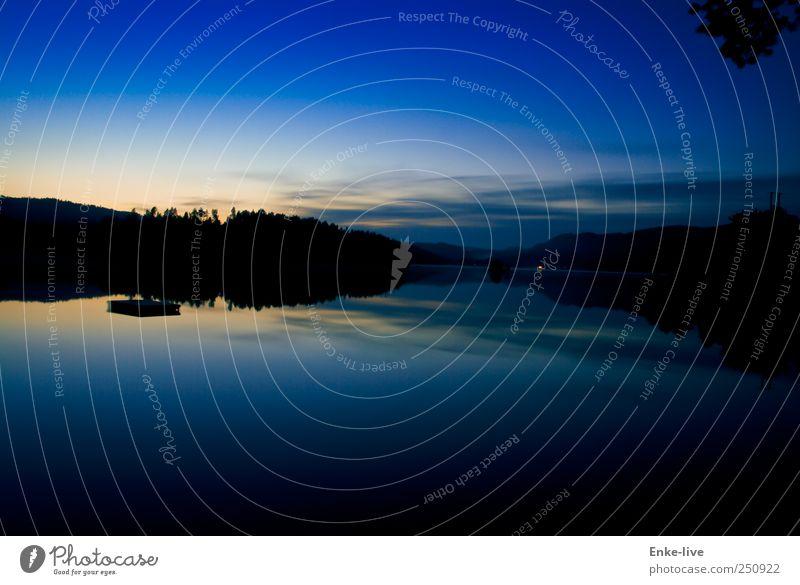 Norwegen Umwelt Landschaft Wasser Himmel Nachthimmel Sommer Schönes Wetter Seeufer Schwimmen & Baden genießen ästhetisch außergewöhnlich fantastisch blau