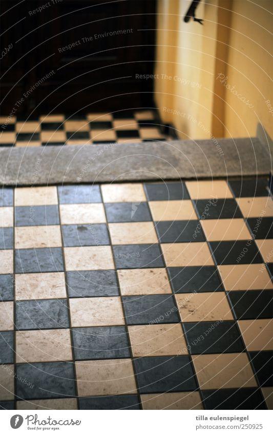 lust auf schach? Bodenbelag Flur gelb schwarz Häusliches Leben kariert Quadrat dreckig Muster Symmetrie Farbfoto Innenaufnahme