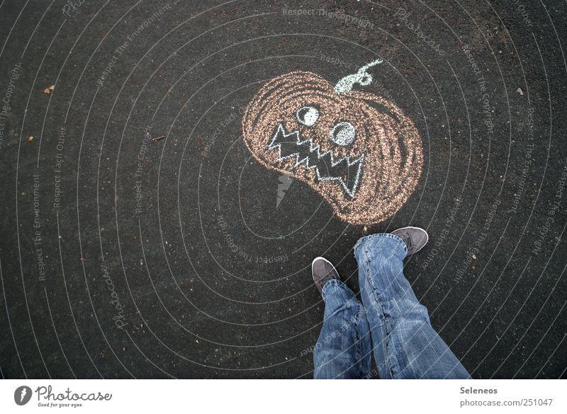 Smashing Pumpkin Mensch Ernährung Lebensmittel Beine Fuß Schuhe Beton stehen Jeanshose Gemüse Kreide Turnschuh Halloween Kürbis