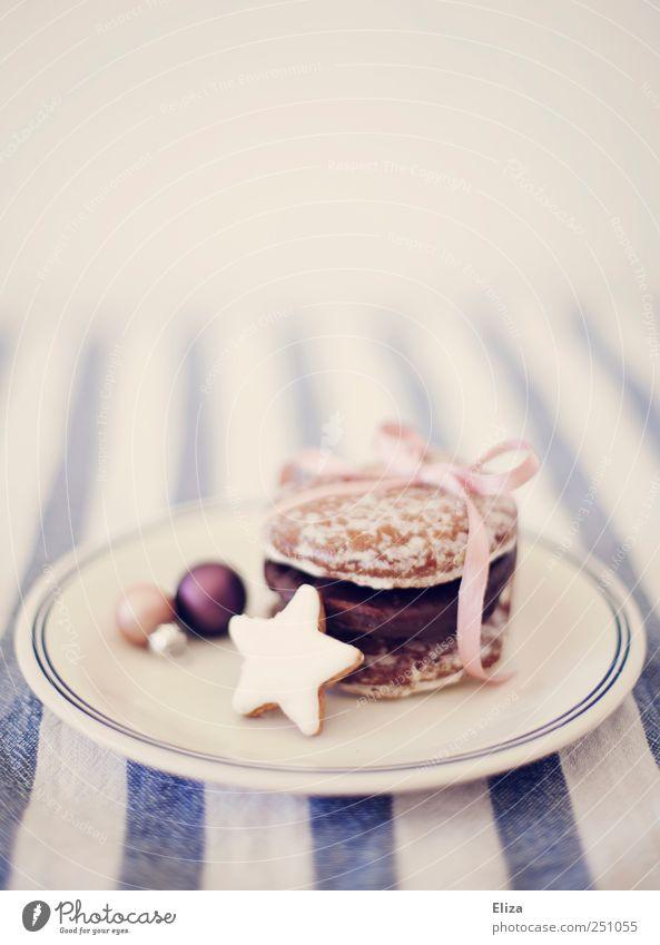 Weihnachtsteller Teller Dekoration & Verzierung Weihnachten & Advent Schleife hell lecker rosa Plätzchen Lebkuchen Zimtstern Backwaren Weihnachtsgebäck