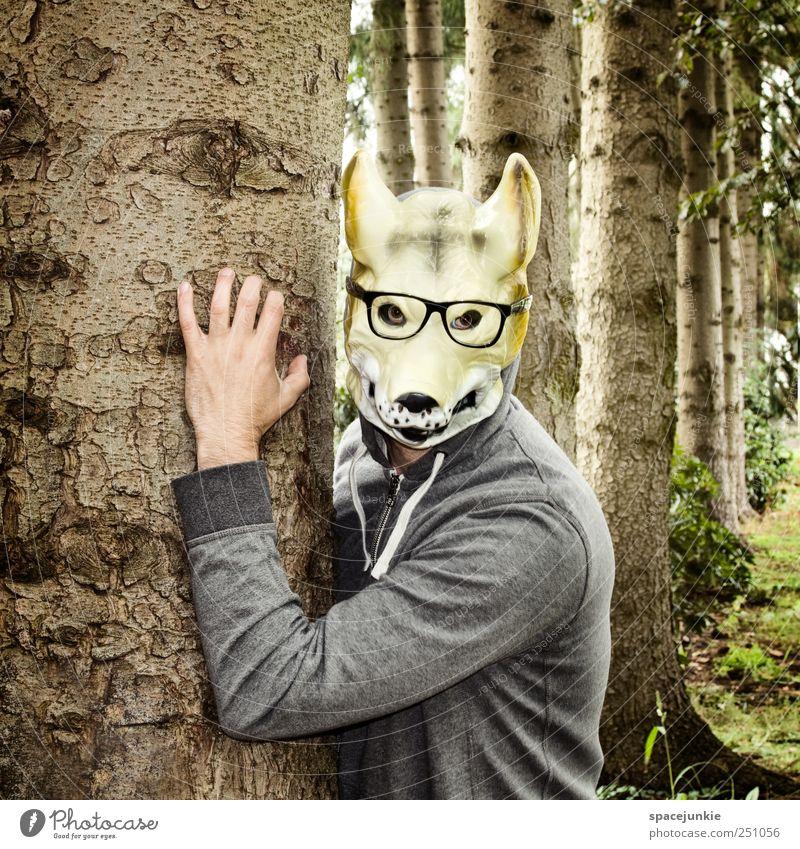 Der Mann mit der Wolfsmaske Mensch Natur Hand Baum Erwachsene Wald Umwelt Gras Garten braun Sträucher Schönes Wetter beobachten Brille Maske