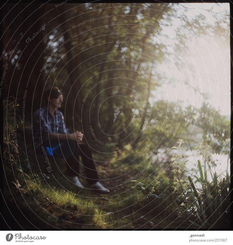 Angekommen Mensch maskulin Junger Mann Jugendliche Erwachsene 18-30 Jahre Umwelt Pflanze Tier Schönes Wetter Baum Blume Gras Sträucher Moos Hemd grün ruhig