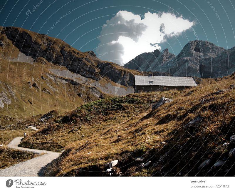 gleißendes licht Berge u. Gebirge Felsen Freizeit & Hobby wandern schlafen Gipfel Alpen Holzhütte