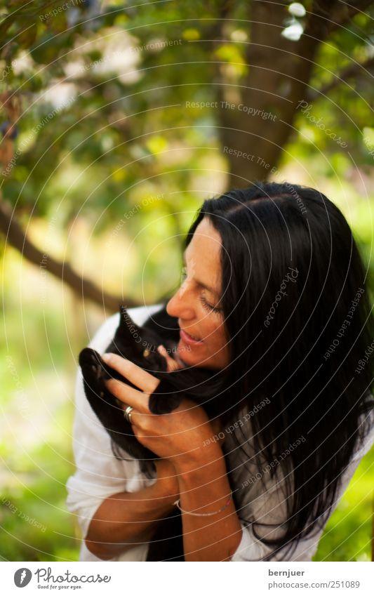 tigresses vertes Frau Mensch Natur grün weiß Baum Sommer Freude Tier schwarz Spielen Gefühle Garten Erwachsene Katze Tierjunges