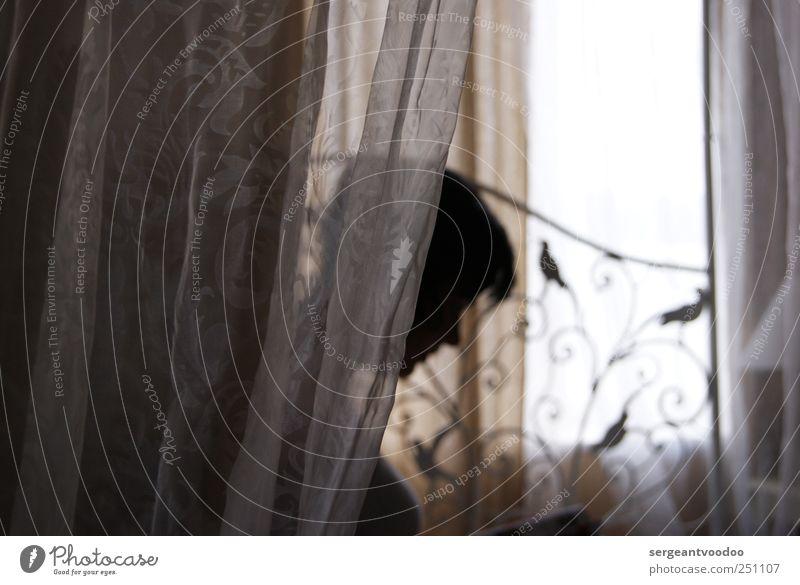 veil ruhig Häusliches Leben Bett Schlafzimmer Schleier Mensch Junge Frau Jugendliche Erwachsene Kopf 1 Dekoration & Verzierung Vorhang Gardine Zeichen Erholung