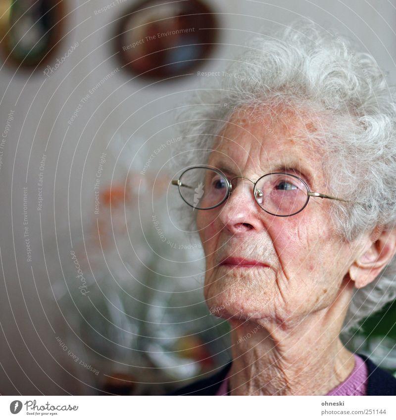 Skepsis Mensch Frau alt Gesicht Senior Kopf nachdenklich Hautfalten Großmutter 60 und älter Weiblicher Senior Gedanke Sorge skeptisch ungewiss Denken