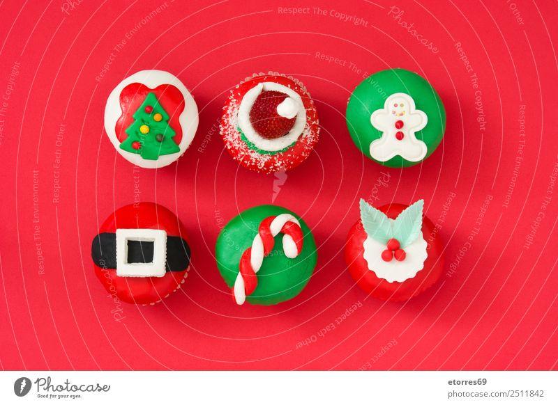 Weihnachten & Advent grün weiß rot Lebensmittel Ernährung süß Jahreszeiten Süßwaren Tradition Weihnachtsbaum Kuchen Dessert Backwaren Weihnachtsmann Zucker