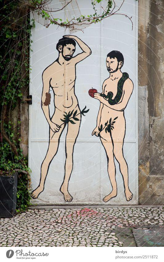Adam und Evo Apfel maskulin Homosexualität Paar Erwachsene 2 Mensch 30-45 Jahre Tür Schlange Graffiti Kommunizieren Liebe authentisch außergewöhnlich Erotik