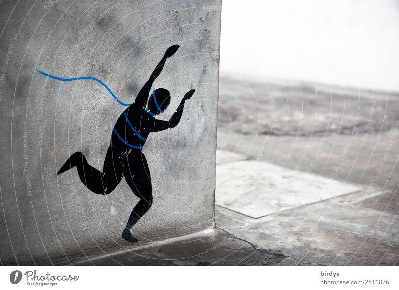 Befreiung androgyn 1 Mensch Mauer Wand Ecke Fußgänger Fußweg Zeichen Graffiti Seil rennen bedrohlich rebellisch blau grau schwarz Willensstärke Todesangst Angst