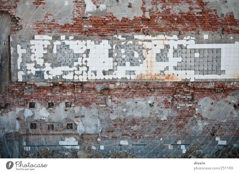 [CHAMANSÜLZ 2011] abgerissen Stadtrand Menschenleer Bauwerk Abrissgebäude Mauer Wand Fliesen u. Kacheln Demontage alt kaputt Endzeitstimmung Verfall