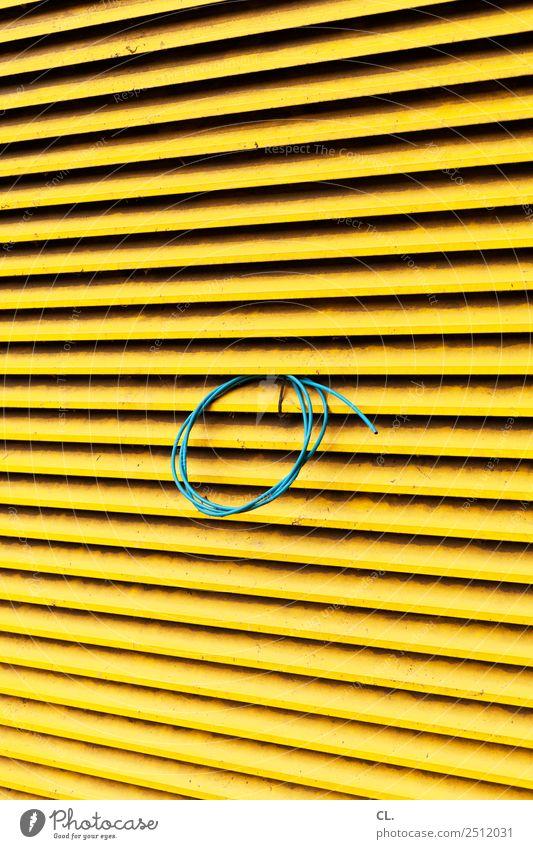 blaues kabel Baustelle Kabel Jalousie Rollo gelb komplex Farbfoto Außenaufnahme abstrakt Muster Strukturen & Formen Menschenleer Tag
