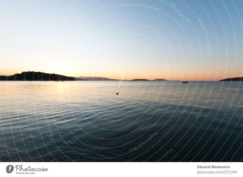 Mal früher aufgestanden Umwelt Natur Landschaft Urelemente Luft Wasser Erde Himmel Wolkenloser Himmel Horizont Sonnenaufgang Sonnenuntergang Sonnenlicht