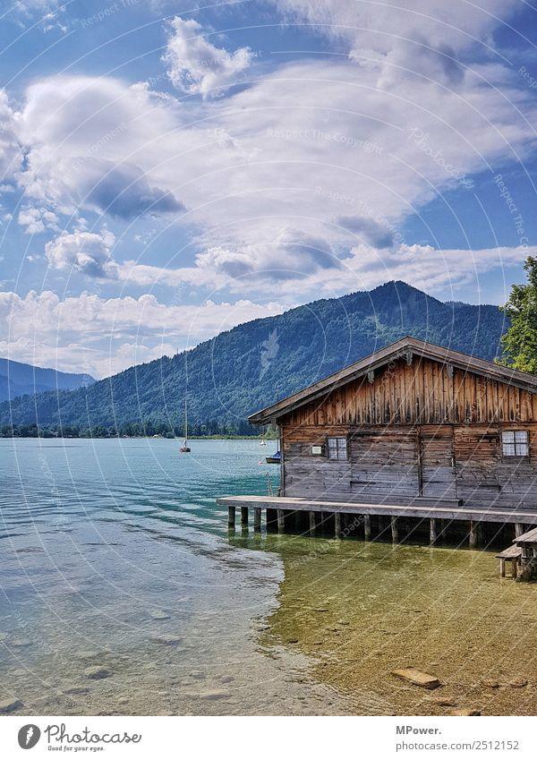 hütte am see Umwelt Schönes Wetter alt Hütte See Tegernsee Bayern Wolken Badesee Erholung Ferien & Urlaub & Reisen Erholungsgebiet Wasser Erfrischung Segelboot