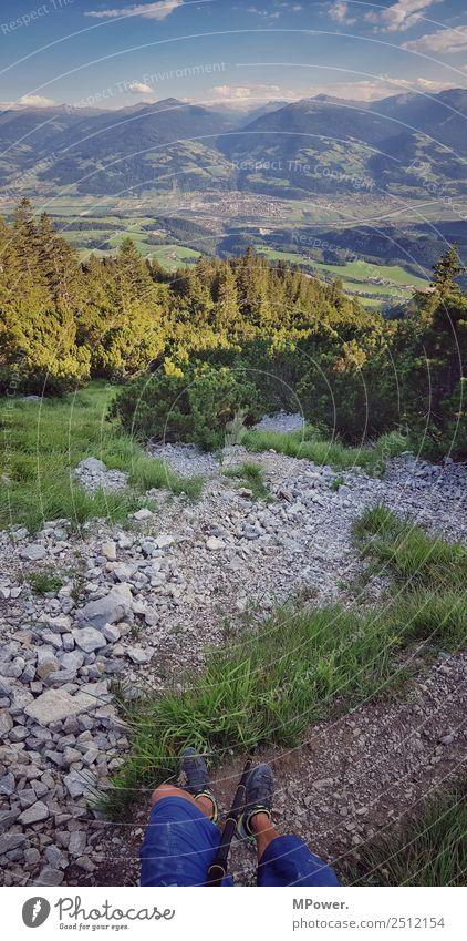 hochkantpanorama Freizeit & Hobby Ferien & Urlaub & Reisen Mensch Umwelt Wald Felsen Alpen Berge u. Gebirge Gipfel stehen wandern steinig Wege & Pfade