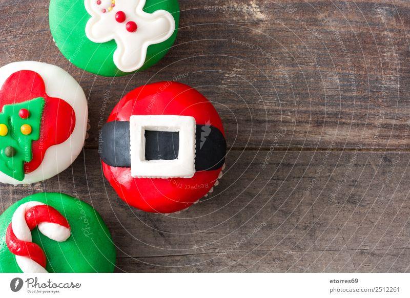 Weihnachtskuchen auf Holzuntergrund Lebensmittel Kuchen Dessert Gesunde Ernährung Dekoration & Verzierung Feste & Feiern Weihnachten & Advent Baum Hut Ornament