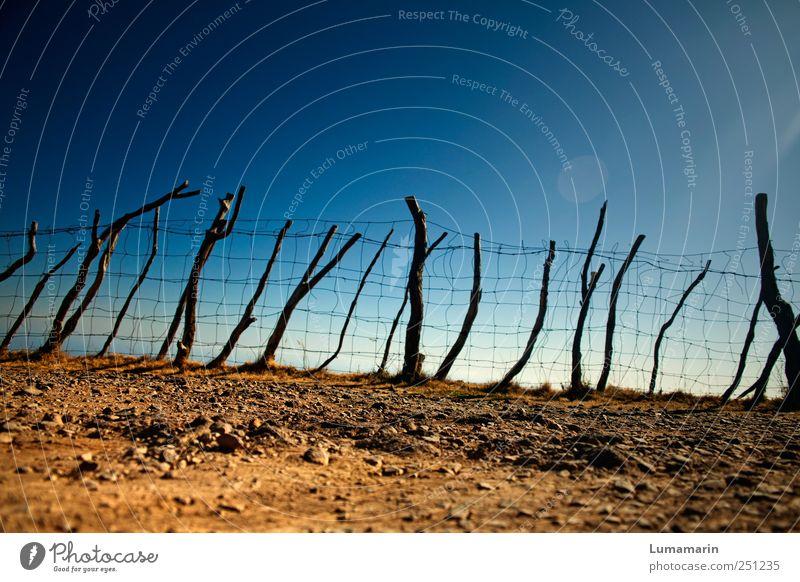 Endegelände blau Ferne Umwelt Landschaft braun Erde Horizont Armut natürlich Sicherheit einfach Ast trocken fest lang